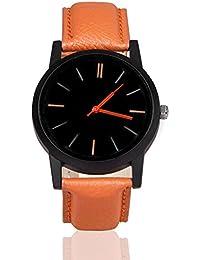 Krupa Enterprise Analogue Dial Black Leather Strap Watch For Boy Watch