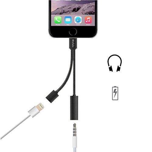 Wofalo 2 in 1 Lightning Adattatore per iPhone 7,Caricatore e 3.5mm Jack Cavo Adattatore(Non Controllo Musica Non Rispondere Telefono) per iPhone 7 7 Plus 6S 6 iPod iPad-Nero