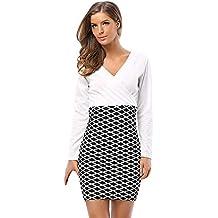 01fedb03f7 MYMYG Moda Vestidos Mujer Vestidos con Cuello en V Manga Larga Cremallera  Slim Fit Mini Vestidos