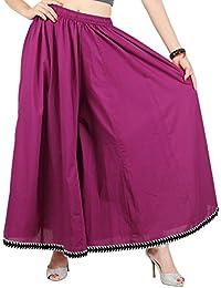 The Yuvti Fashions Rayon Sharara / Divider Palazzo Pants / Extra Wide Leg Pants - Rayon, Purple