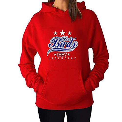 2e50ea64176 HUIYIYANG Tees Women s Hoodie Sweatshirt Black Birds Big Slogan Pattern  Classic Long Sleeve Pullover Hooded Sweatshirt