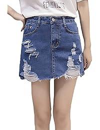 Faldas Vaqueras Mujer Verano Vintage Moda Desgarrado Cintura Alta Una Línea  Falda Corta Minifalda Elegantes Casual 44ab17bbed03