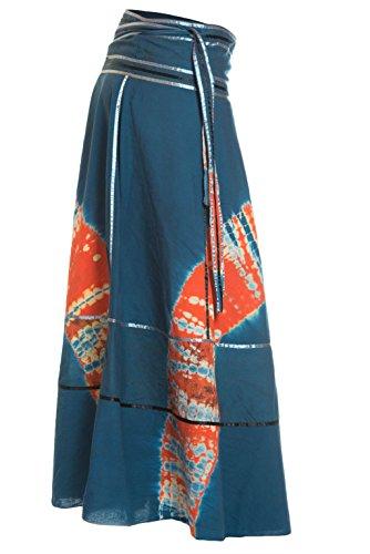 Wickelrock Goa Batik - Bunter Maxi Rock lang aus Indien, 92 cm lang, mit Bändern - von Ufash Blau-Orange