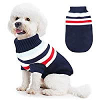 Idepet Dog Sweater, Cute Puppy Warm Clothes Doggie Fleece Coat Knitwear for Small and Medium Dogs Cats for Winter Christmas (Blue, 3XL)