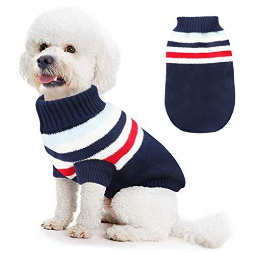 Hundemantel Winter, Idefair Hundepullover Grosse Hunde Gestrickt Hundekostüm Weihnachten für kleine und mittlere Hunde Katzen (S, Blau)