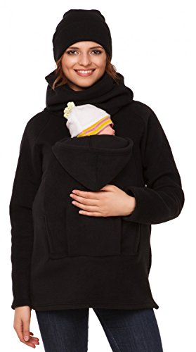Happy Mama. Femme sweat devant arrière porte-bébé maternité laine polaire. 030p Noir