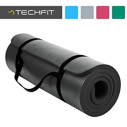 TechFit Fitness Yoga Tappetino, Extra Spessore, 180 x 60 cm, Ideale per Palestra, Esercizi del Pavimento, Campeggio, Stretching, ABS, Pilates (Nero 1)