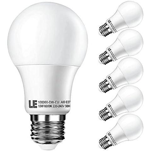 LE Pack de 5 bombillas LED, A60, E27, consumo 10W, equivalencia incandescente 60W, luz blanca diurna 6000K, 810lm, de rosca gruesa E27