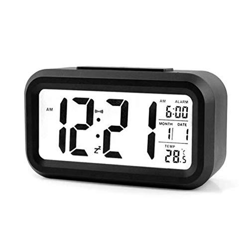 arekeke Reloj Despertador Digital, Relojes Despertadores Digitales Alarma Despertador Silencioso con Calendario Temperatura Reloj Alarma Función, Función Snooze y luz Nocturna, Negro