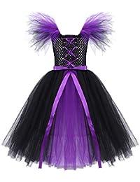 34c4b17aec iiniim Disfraz Bruja Vampiresa Niña Infantil Vestido con Lazada Princesa  Tutú Tul Cosplay Costume de Halloween