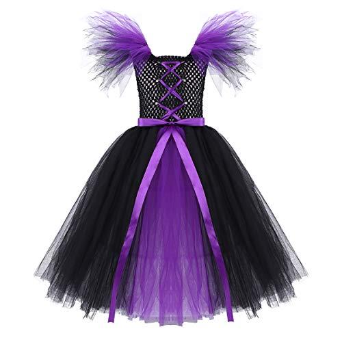 Kostüm Halloween Kostüm Kinder Prinzessin Kleid Festlich Kleid mit Tüllrock Kleinkind Tüll Kleidung Kostüm Cosplay Party Karneval Schwarz&Violett 116-122/6-7 Jahre ()
