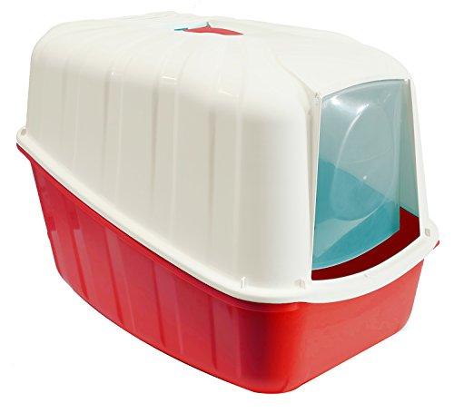 BPS (R) Bandeja Sanitaria Plástica Cerrada Gran Tamaño con Pala Color Morado y Blanco 54* 39* 40cm BPS-4161 ROJO