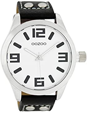 Oozoo Damenuhr mit Lederband 46 MM Weiss/Schwarz C1053