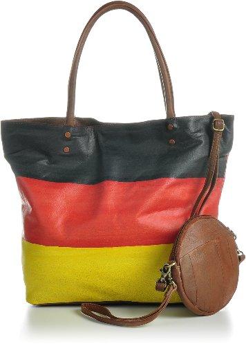 Masquenada Tasche Fußball Weltmeisterschaft 2018 Ledertasche WM 2018 Handtasche WM 18 Fussball Wendetasche Shopper u. Umhängetasche 43x33x13 cm (B x H x T) (Modell Deutschland)
