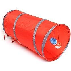 Pecute Túnel Plegable para Mascotas con Cascabel Colgante Ideal como Juguete de Perros y Gatos