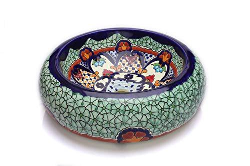 Cerames Juanetta - Mexikanische Rund Aufsatzwaschbecken   40 cm Keramik Talavera klein Waschbecken aus Mexiko   Buntes Deko motiven