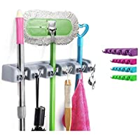 Torix Accroche-Tout Universal Hook broom holder with 5 places 5 hooks assorted color Purple or Green or Red or Blue
