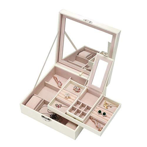 ZOUQILAI Boîte à Bijoux Organisateur de Bijoux Miroir et 2 Supports pour Boucle d'oreille Bague Collier et Plateaux à Bracelet Montre pour Femmes et Filles