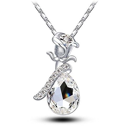 18K weißes Gold überzogene Glas-Kristallwasser-Tropfen geformte hängende Halskette für