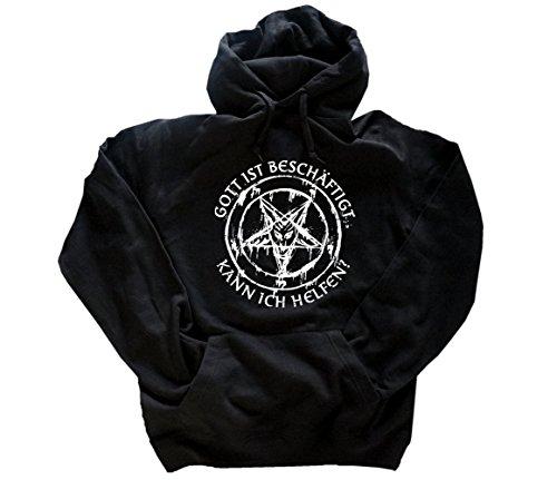 Gott ist beschäftigt-kann ich helfen Teufel Satan Kapuzensweatshirt Hoody Schwarz XL