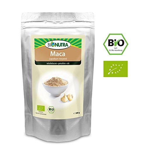 BioNutra Maca-Pulver Bio 500 g, Original aus Peru, fein gemahlenes Maca, Macapulver in kontrollierter Qualität aus biologischem Anbau.