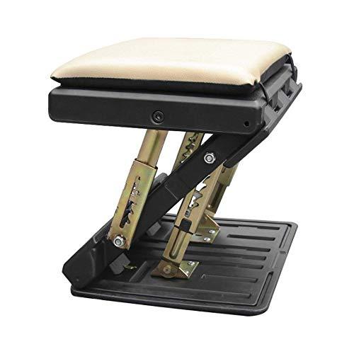 CONRAL Verstellbare Fußstütze mit Massageperlen für Reise und Büro, in Höhe und Winkel Verstellbarer 4 Stufen Fußstützenhocker für die Schreibtischunterstützung, mit Kissen,Beige -