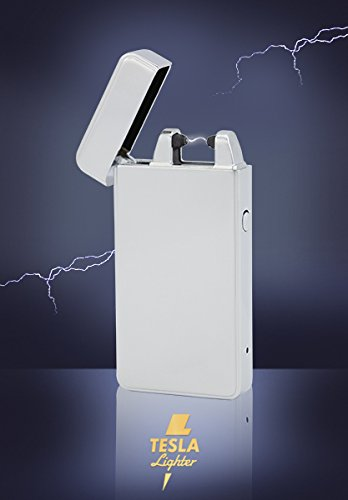 #Tesla-Lighter T01 Lichtbogen Feuerzeug USB Feuerzeug Arc Lighter elektronisches Feuerzeug wiederaufladbar Silber#