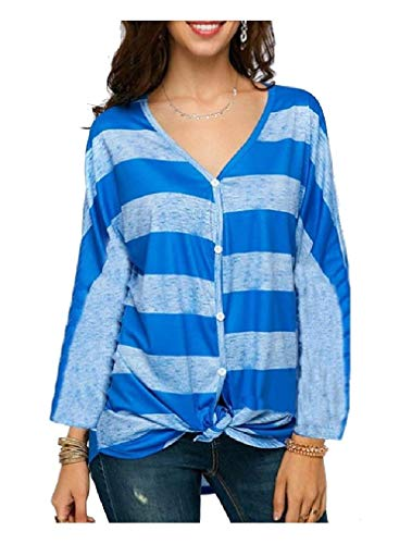 Pinstripe V-neck Top (CuteRose Women Pinstripe V Neck Sexy Baggy Style Tops Casual Loose T-Shirt Blue L)