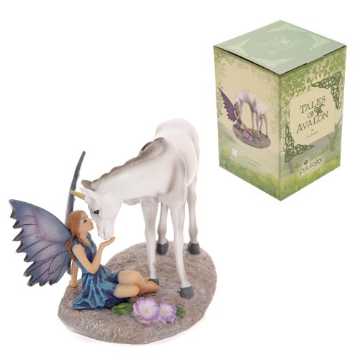 Lisa Parker Tales of Avalon Unicorn Kiss - Figura Decorativa de Hada con Unicornio