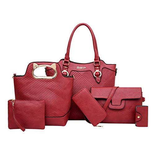 WoWer 6 StüCke Damen Handtaschen Handtasche Karte Tasche SchlüSselanhäNger Retro Leder Gedruckt UmhäNgetasche + UmhäNgetasche + Clutch + SchlüSseltasche + Handtasche + Brieftasche Kombinationspaket -