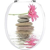 Art déco-Pegatinas-- -WC de asiento, diseño de guijarros, diseño de flores y mariposas-032