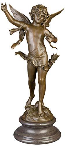 aubaho Bronzeskulptur Engel Amor im Antik-Stil Bronze Figur Statue 71cm (Bronze Engel Statue)