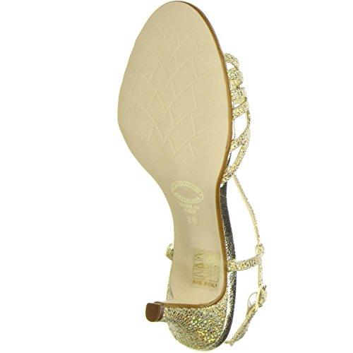 Vista Damen Sandaletten Glitzeroptik gold Gold