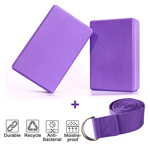 KidsHobby 2er-Set Yoga Blöcke/Yogablock mit Yogagurt für Dehnübungen (Violett)