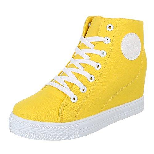 Damen Schuhe, 972-Y, FREIZEITSCHUHE, KEILABSATZ SNEAKER, Textil , Gelb, Gr 40