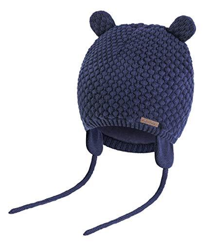 K.tchard Baby Jungen Mädchen Mütze Beanie Strickmütze Cap Kinder Wintermütze Cute Bear Hut, Gr.-3-7 Monate(36cm-41cm)/ Etikettengröße - Small ,Navy (Jungen Strickmütze)