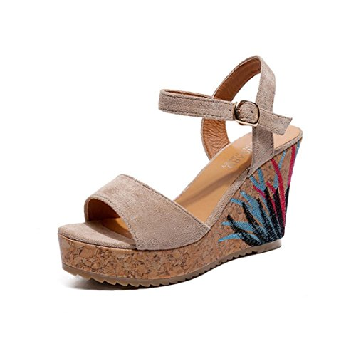 34813ae076b Bringbring Ladies Sandals Strap Straw Platform Wedges Shoes High Heels  Sandal
