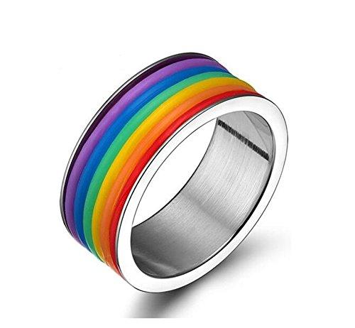 SanJiu Schmuck Unisex Ringe Edelstahl Ring Einfacher Stil Partnerringe Freundschaftsringe Eheringe Trauringe Verlobungsringe für Damen und Herren Regenbogen Größe 60 (19.1)