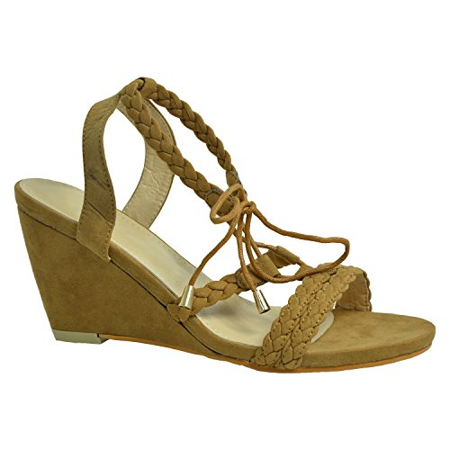 Cucu Fashion ,  Damen Knöchel-Riemchen Camel