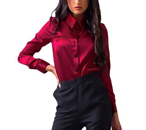 Donna camicia autunno invernali elegante camicie slim fit casuale formale business blusa manica lunga bavero puro colore camicetta single breasted classico camicette