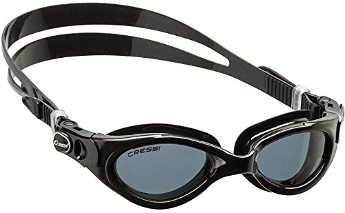 Cressi flash de202950 occhialini nuoto a oculari separati con lenti infrangibili antiappannamento, antigraffio, anti uv, adulto donna, nero/nero lenti scure