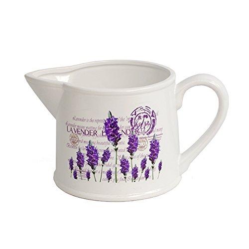 Pflanzen-Kanne Lavendel Kannenform Keramik weiß lila Pflanzen-Topf Lavender Blumentopf. Von Haus der Herzen® (Lavendel-pflanzen-topf)