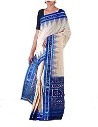 Unnati Silks Women Cream-Blue Pure Handloom Sambalpuri Cotton Ikat Saree(UNM22008)
