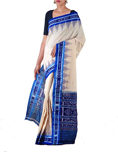 Unnati Silks Women Cream-Blue Pure Handloom Sambalpuri Cotton Ikat Saree(UNM22008)