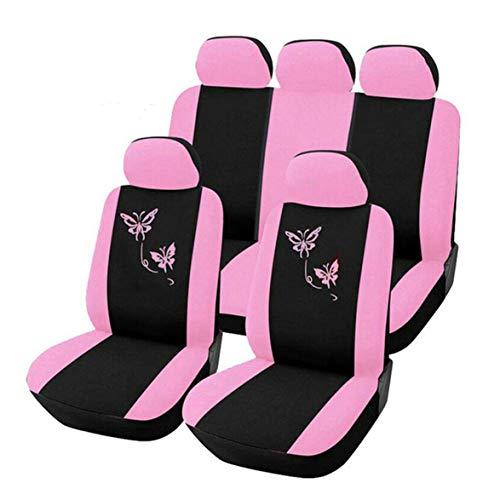 Kongqiabona Butterfly Fashion Style Anteriore Posteriore Universale Coprisedili per auto Carino rosa Auto Vehicle Cars Covers