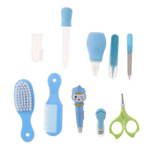 Sharplace 10 in1 Kinder Nagelpflege-Set Baby Pflegeset mit Haarbürste Kamm Zahnbürste - Blau