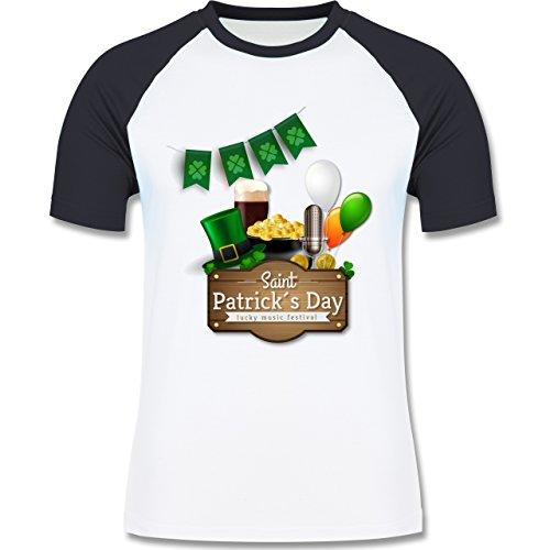 Festival - Saint Patrick's Day Happy music festival - zweifarbiges Baseballshirt für Männer Weiß/Navy Blau