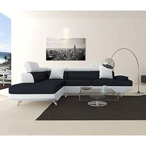 SCOOP XL Canapé angle gauche 4 places simili noir blanc