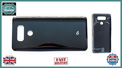 LG G6 H870 Battery Back Cover Rear Case Door Glass with Adhesive Black (Cover Batterie Door Back)