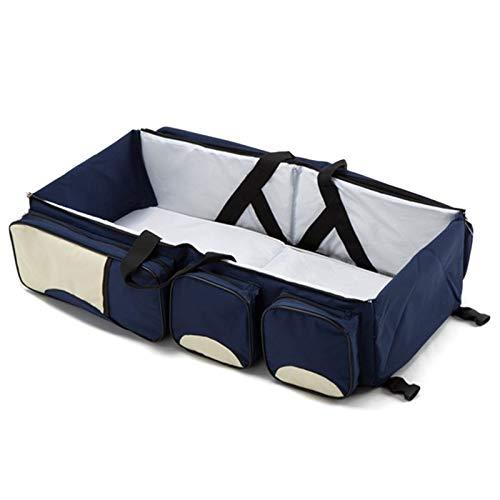 REFURBISHHOUSE Bebe 3 en 1 Multi-Fonctionnel Sac a Langer Voyage Berceau - Berceau Portable Et Table a Langer, Bleu Marin